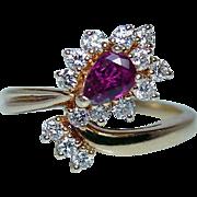 Vintage Gem Ruby Diamond Ring 14K Gold Estate