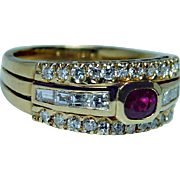 Vintage 18K Gold Ruby Cushion Diamond Baguette Ring Estate Gem