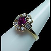 Vintage Ruby Baguette Diamond 18K Gold Ring Estate