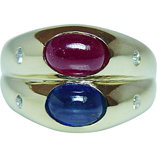 Vintage Diamond Ruby Sapphire Ring 18K Gold Italy Estate