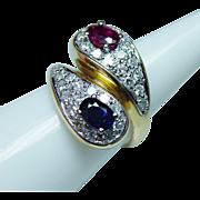 Vintage Ruby Sapphire Diamond Ring 18K Gold Colorless VS-EF Estate