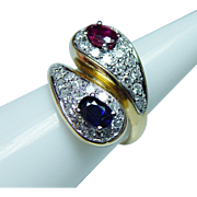 Vintage Ruby Sapphire Diamond Ring 18K Gold Colorless VS-EF Estate