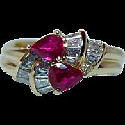 Vintage Ruby Diamond 18K Gold Ring Designer Spark Gem Quality Estate