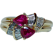 Vintage Ruby Diamond 18K Gold Ring Designer Spark Gem Quality Estate