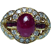 Vintage 2.2ct Ruby Diamond Ring 18Kt 18K Yellow Gold Heavy Estate
