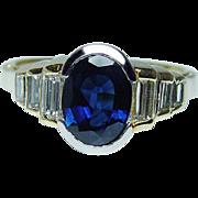 Vintage 1.8ct Blue Sapphire Baguette Diamond Ring 18K Gold Estate Jewelry