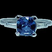 Vintage Platinum Ceylon Sapphire Cushion Diamond Baguette 3 stone Ring Estate