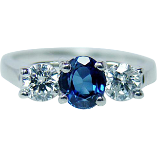 Vintage Ceylon Sapphire Diamond 3 Stone Ring 14K Gold Platinum Estate Jewelry