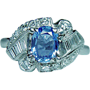 Vintage Platinum Cornflower Sapphire Colorless Baguette Diamond Ring Estate