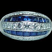 Oscar Heyman Sapphire VVS Diamond Ring 18K White Gold 11.9gr Heavy Size 9 GIA