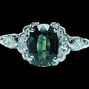 Vintage 1.85ct Green Sapphire Marquise Diamond Ring Platinum Estate