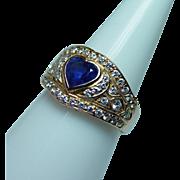 Vintage 18K Gold Ceylon Sapphire Heart Diamond Ring Estate