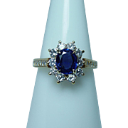 Vintage 18K Gold Ceylon Sapphire VS1-G Diamond Ring Designer Estate