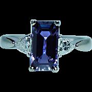 Vintage 18K White Gold Purple Ceylon Sapphire Bullet Diamond 3 Stone Ring Estate