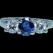 Vintage 14K Gold Platinum Ceylon Sapphire Diamond 3 Stone Ring Estate