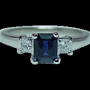 Vintage Sapphire Princess Diamond 3 Stone Ring 14K White Gold Estate