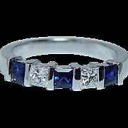 Vintage Sapphire Princess Diamond 5 stone Ring Band 18K White Gold Estate