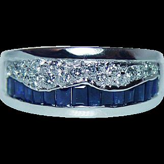 Vintage Baguette Sapphire Diamond Ring Platinum 11.7gr Heavy Estate