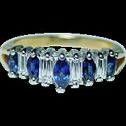 Vintage Sapphire Baguette Diamond Ring 18K Gold Platinum Estate Jewelry