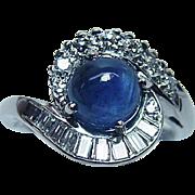 Vintage Sapphire Baguette Diamond Ring 18K White Gold Designer Signed Estate