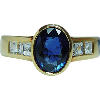 $6K Damiani 1.75ct Ceylon Sapphire Asscher Diamond Ring 18K Gold Designer Signed Estate