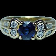 Vintage Ceylon Sapphire Diamond Ring 18K Gold Estate ITALY