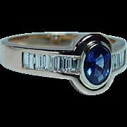 Vintage 18K Pink Gold Sapphire Baguette Diamond Ring Estate Designer Italy