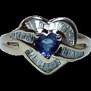 Vintage Heart Sapphire Diamond Baguette Ring 14K Gold Estate Signed