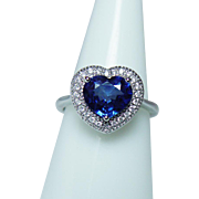 Vintage 2ct Sapphire Heart Diamond Halo Ring 14Kt White Gold Estate Retail $2925