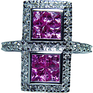 Vintage Hot Pink Princess Sapphire Diamond Ring 14K White Gold Estate Jewelry