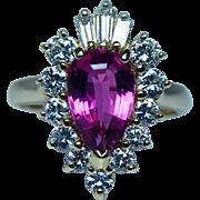 Vintage 18K Gold Pink Sapphire Diamond Baguette Halo Ring Estate