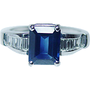 Designer JB STAR 2.5ct Sapphire Diamond Ring Platinum Estate Jewelry