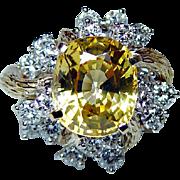 Vintage Kurt Wayne Yellow Sapphire Diamond Ring 18K Gold Platinum Designer 6ct Estate GIA
