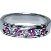 Vintage  Pink Sapphire Diamonds Ring 14K White Gold Estate Jewelry