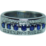 Vintage Sapphire Diamond Band Ring 14K White Gold Heavy Estate