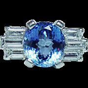 Vintage 3ct Gem Cornflower Sapphire Baguette Diamond Platinum Ring Estate