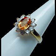 Vintage 18K Gold Orange Sapphire Diamond Ring Estate