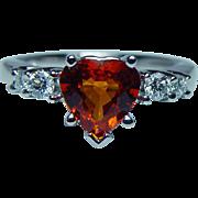 Vintage Orange Sapphire Heart Diamond 14K White Gold Ring 2ct Estate