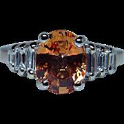 Vintage Baguette Diamond Orange Sapphire 14K Gold Ring Estate