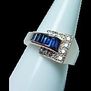 Oscar Heyman Sapphire Diamond Ring 18K Gold Vintage Estate Jewelry
