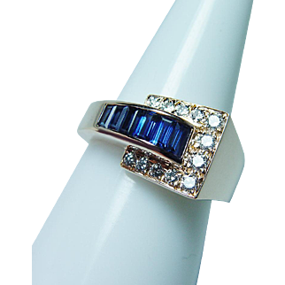 Oscar Heyman Sapphire Diamond Ring 18K Gold Vintage Estate Jewelry