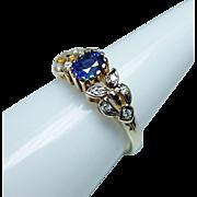 Vintage Ceylon Sapphire Diamond Ring 18K Gold Estate