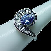 Vintage Platinum Cornflower Sapphire Baguette Diamond Ring Estate
