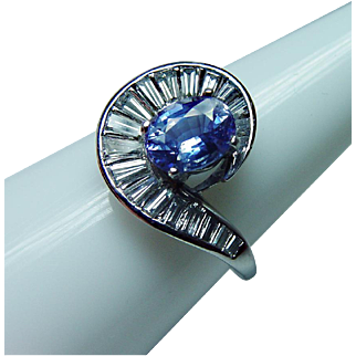 Vintage Platinum Cornflower Sapphire Baguette Diamond Ring Estate