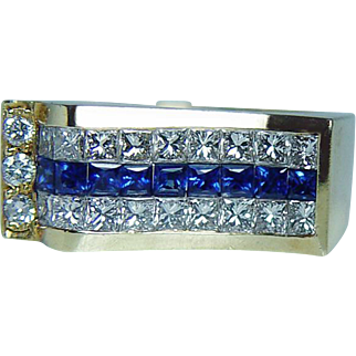 Vintage 1.60ct Princess Ceylon Sapphire VS-G Diamond Ring 18K Gold Heavy Estate
