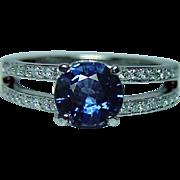 Vintage Sapphire Diamond Platinum Ring Heavy Estate