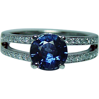 Vintage Sapphire Diamond Platinum Ring Heavy Estate