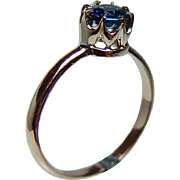 Rare Vintage Russian 14K Rose Gold Sapphire Filigree Ring circa 1950