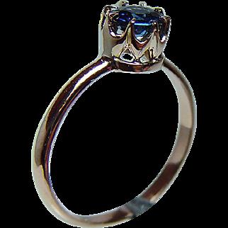 Rare Vintage Russian 14K Rose Gold Sapphire Filigree Ring circa 1950