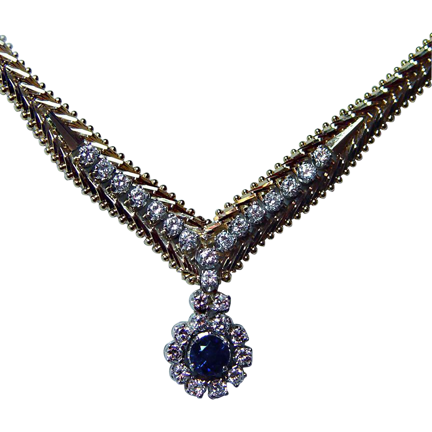 Vintage 14K Gold Diamond Sapphire Necklace Bracelet Set Estate